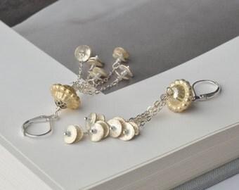 Artisan silver earrings, dangle earrings, long earrings, tassel earrings, lever back earrings, wearable art