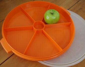 Retro antipasto / picnic container, orange. Hostess Decor. British Plastics Australia.