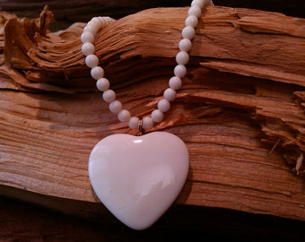 Puffy Heart Vintage White Bone Bead Choker Necklace with Bone Clasp. 16 inches with Extra Extender Necklace.