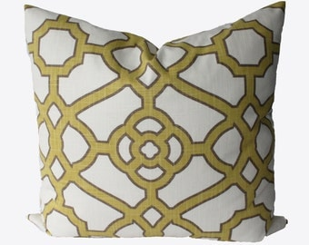 Decorative Lattice Pistacio, Yellow,  Chartreuse,Fretwork, Pillow Cover, 18x18, 20x20, 22x22 or Lumbar Throw Pillow