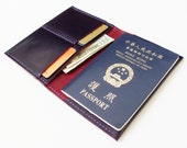 Passport Cover - Personalized Leather Passport Holder with Card Slots in Violet - for Travel - Handmade and Hand Stitched - Free Monogram