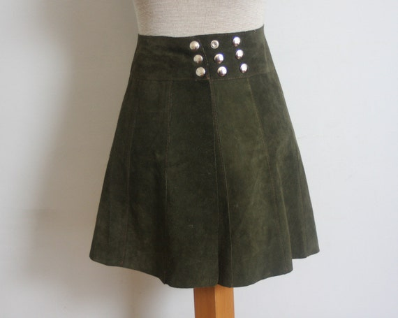 70s suede mini skirt vintage olive green leather by