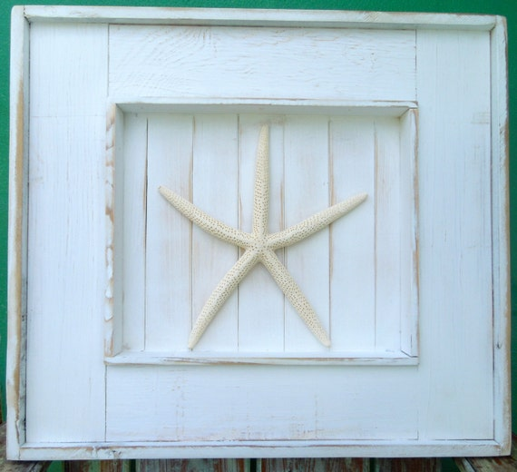 Beach Decor / Large Shadow Box Frame with Starfish