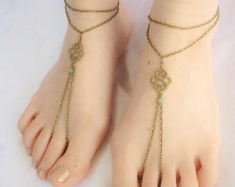 Customizable, Barefoot Sandals, Barefoot Sandal Foot Bracelets, Aventurine Foot Jewelry Barefoot Sandals, Antique Copper 0r Bronze Sandals