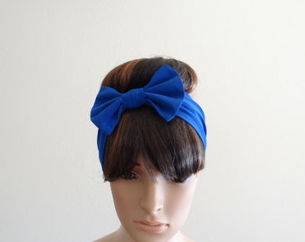Blue Headband. Bow Headband