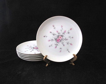 6 Harmony House Rosebud Bread Plates with Pink and Gray Roses Vintage 1950s Set of 6
