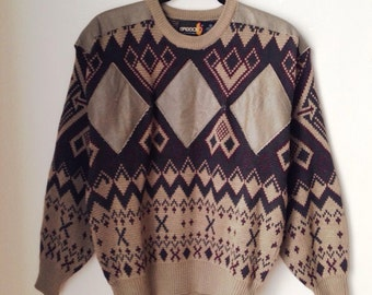 Sasson Leather Detail Crazy Pattern Sweater Size Small