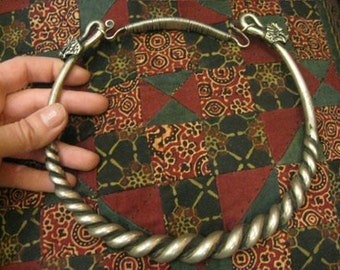 Gorgeous Tribal Thai Solid Metal Roped Neckpiece with Dragon Clasps