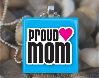 PROUD MOM Mother's Day Mom Love Glass Tile Pendant Necklace Keyring
