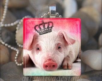 PRINCESS PIG Queen Diva Pig Lover Glass Tile Pendant Necklace Keyring