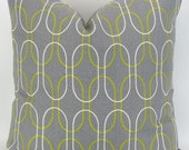 Gray Geometric Pillow Cover - 20x20 - Shiba Summerland Premier Prints - custom cushion throw couch euro sham citrine green yellow oval chain