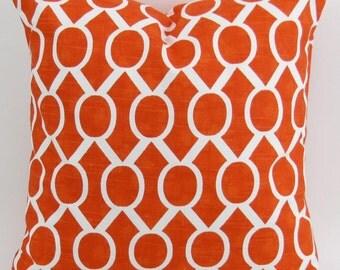 Tangerine Orange Floor Pillow Cover up to 28x28 inch Tangelo Sydney geometric white cushion cover sham Premier Prints decorator FREE SHIP