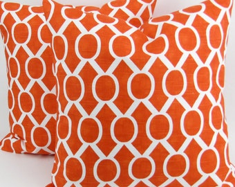 Tangerine Orange Pillow Cover -ANY SIZE- 2 Tangelo Sydney geometric white cushion cover throw sham Premier Prints decorator FREESHIP