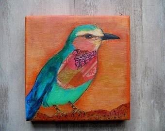 Bird Painting-mixed media-African Roller-rainbow bird-bird watcher-bird lover gift-original art-OOAK