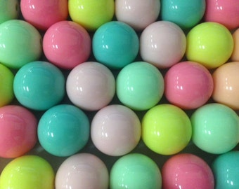 24mm round gumball beads, 14 beads, pastel colors, assorted