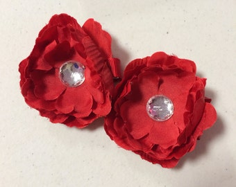 Mini Red Peony Flower Hair Clip Set of 2- FREE SHIPPING