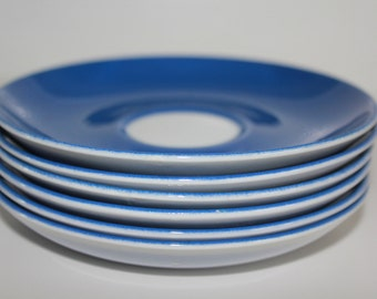 Vintage blue porcelain replacement saucer, by Arabia Finland
