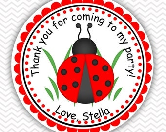 Ladybug - Personalized Stickers, Party Favor Tags, Thank You Tags, Gift Tags, Address labels, Birthday, Baby Shower