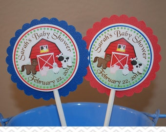 Barn Yard Farm Animals Red  Cupcake Toppers - Set of 12 Personalized Birthday Party Decorations