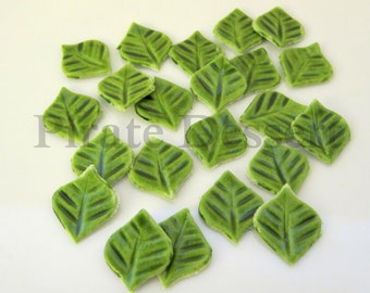Sugar Leaves - Green Cupcake size Fondant Leaves (6mm long)  - Edible cake decorations- candy leaves- Spring Cupcakes  (24 pieces)