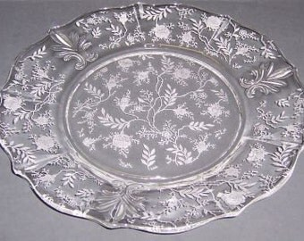 Fostoria Crystal CHINTZ Elegant Glass 9 1/4 Inch Dinner Plate