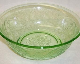 Indiana Depression Glass Green Pattern Number 612 HORSESHOE 7 1/4 Inch Round Bowl