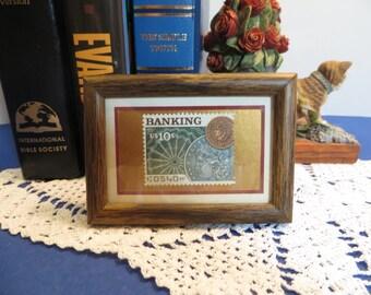 Mini-Framed BANKING Postage Stamp