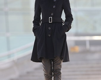 winter coat cashmere Belted black coat-C174