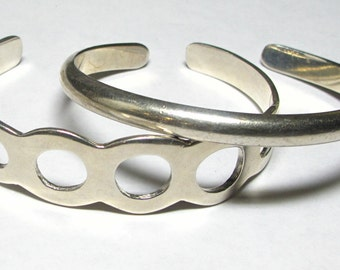 Two Sterling Silver Heavy Cuff Bracelets - Total Weight 49.5 Grams - Set of 2 - REDUCED # 3047