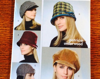 Vogue Accessories Pattern, Hats by Patricia Underwood, Vogue 8308, Hard to Find, Sizes Small, Medium and Large
