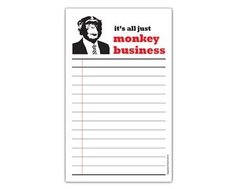 It's All Just Monkey Business Chimp with Suit Funny Receipt Notepad