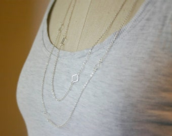 Layered and long necklace / Long silver necklace / Layering necklace / Long gold necklace