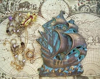 Solid Bronze Portuguese Galleon Wall / Desk Decor, Spanish Invincible Armada Galleon, Treasure Ship, Props not for sale