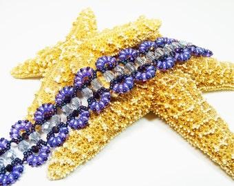 Purple Bead Woven Bracelet, Duo Beaded Bracelet, Purple Woven Bracelet, Scalloped Beaded Bracelet