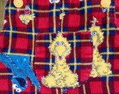 Big Bird Cookie Monster Overalls vintage Corduroy Plaid allover Pattern sz 4