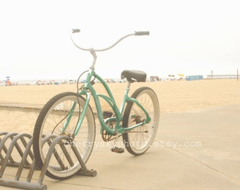 Mint Bike - Aqua Cream Beige Beach Bicycle Photo Photograph Summer Ocean Shore Sand Sea Coastal Coast Sunshine Green Blue Turquoise Sand