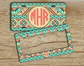 Personalized License plate or frame, Custom front car tag, Aztec tribal light aqua tan, Monogram car tag, Bike license plate (1272)