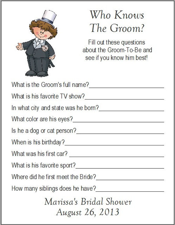 Wedding Shower Games For Bride And Groom Groom Bridal Shower Game
