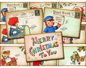 INSTANT DOWNLOAD, Printable Christmas Gift Tags, DIY Labels, Digital Collage Sheet of Retro Vintage Holiday Postcard Images, atc aceo