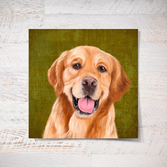 Golden Retriever print, Golden Retriever poster print pet gift funny print dog print pet portrait wall art fine art print wall decor