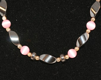 Vintage beads graphite and pink tiger eye