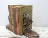 Jennings Brothers Native American Indian Bronze Bookends
