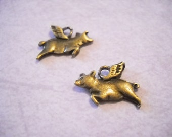 Flying Pig Charms Bulk Charms Antiqued Bronze Double Sided Pig Charms When Pigs Fly Bulk Charms Wholesale 500 pieces PREORDER
