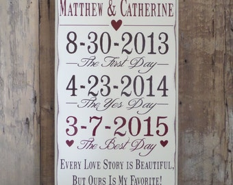 Every Love Story is Beautiful, Important Date Custom Wood Sign, 5th Anniversary Gift, Personalized Wedding Gift, Engagement Gift
