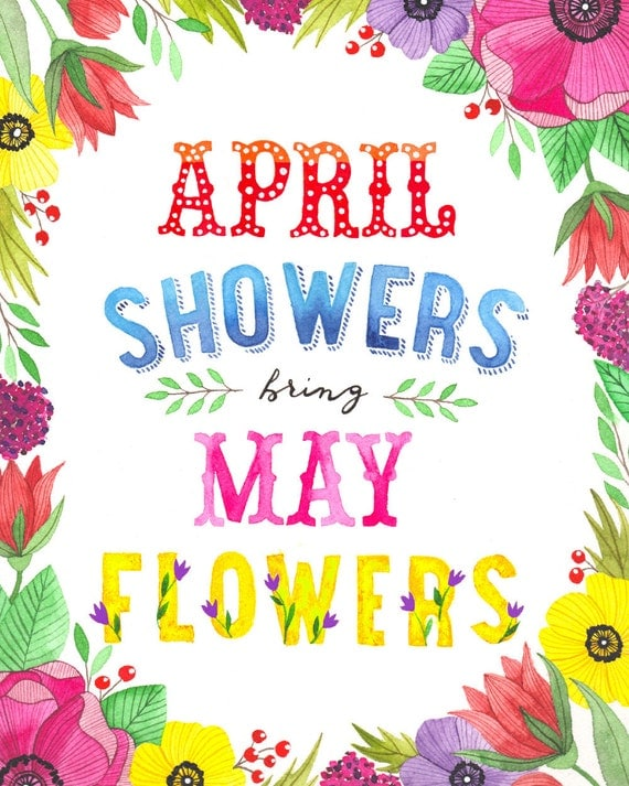 April Showers Bring May Flowers Illustration Vertical by