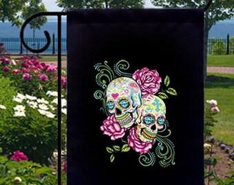 Pink Roses Sugar Skulls New Small Garden Yard Flag Decor Day of the Dead