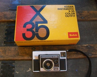 Vintage 1970s Kodak Instamatic X-35 Color Outfit Camera with Automatic Electric Eye & Original Box