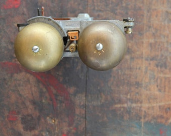 vintage telephone, phone, bells, brass