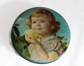 Thorne's Toffee, Vintage tin box, Cute girl with chick. Round, Confectionery container. Shabby cottage chic, blue. Innocence, tinplate litho