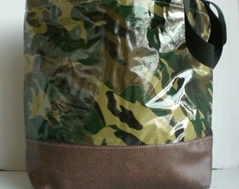 Camo Large monogrammed oilcloth tote with faux leather bottom